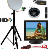 Antena cu televizor pentru rulota - camping cu trepied