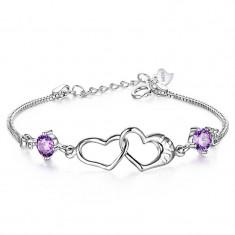 Bratara argint - Bratara fashion cu cristal MOV si inimioare I LOVE YOU