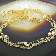Bratara placate cu aur - Bratara Placata Cu Aur 18k, cu Perle, cod 633