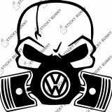 Sticker Volkswagen 30x30 cm, Craniu cu pistoane, autocolant auto tuning
