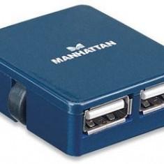 Manhattan Hub USB Manhattan Micro Hub, 4 porturi, Albastru - Adaptor interfata PC