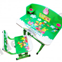 Birou pentru copii reglabil pe inaltime cu scaunel 71x 49 x 95 cm verde - Masuta/scaun copii