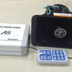 Sirena Politie Profesionala 200W cu Telecomanda Wireless, Redare de pe Usb - Sirena Auto