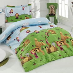 Lenjerii de pat copii Masha 140x230 - Lenjerie pat copii Altele, Alte dimensiuni, Verde