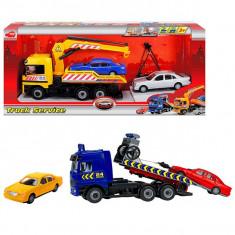 Set camion tractare auto cu platforma Truck service 3414581 Dickie - Vehicul