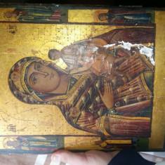 Icoană veche ruseasca pictata pe lemn sec 18 - Icoana cu foita de aur