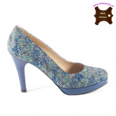 Pantofi dama piele naturala TAYLOR DDL albastru mozaic (Marime: 39) - Pantof dama