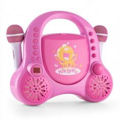 Auna Rockpocket pentru copii Karaoke Sistem CD AUX 2x microfon autocolant Set roz - Echipament karaoke