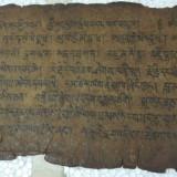Manuscris foarte vechi in sanscrita pe piele scris fata verso.