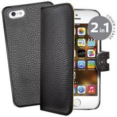 Husa Flip Cover Celly 106438 Ambo neagra plus capac spate detasabil pentru Apple iPhone 5S - Husa Telefon Celly, iPhone 5/5S/SE