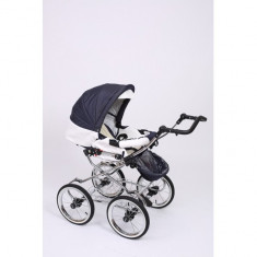 Carucior 2 in 1 Whicker Classic Color 3 Baby-Merc - Carucior copii 2 in 1 Baby-Merc, Alb