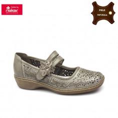 Pantofi dama piele naturala RIEKER bej (Marime: 40) - Pantof dama