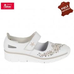 Pantofi dama piele naturala RIEKER alb floral (Marime: 40) - Pantof dama