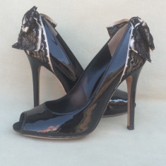 D&G, Dolce Gabbana, Pantofi Fashion Dama, Negru, Stiletto, Piele Italia - Pantof dama Dolce & Gabbana, Marime: 37, Piele naturala