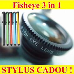 Obiectiv Smartphone Clip on 3 in 1 Macro - Fisheye - Wide Angle - Poze reale