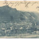 3399 - L i t h o, BRASOV, Panorama - Double old postcard - used - 1899 - Carte Postala Transilvania pana la 1904, Circulata, Printata