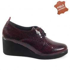 Pantofi dama piele naturala GIULIA 1 bordo lac sarpe (Marime: 39) - Pantof dama