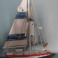 Corabie de lemn panza si scoici naturale, macheta, decor, 30x19cm, marca DONGA - Macheta Navala Alta