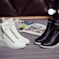 Sneakers dama cu platforma KENZO - PIELE NATURALA - Ghete dama Kenzo, Marime: Alta, Culoare: Alb, Negru