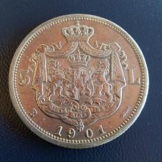 5 lei 1901 - Moneda Romania