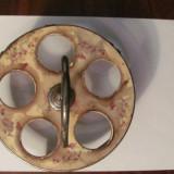 CY - Suport vechi metal nichelat si ceramica / faianta pentru 5 pahare - Metal/Fonta