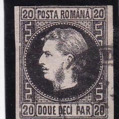 ROMANIA 1867, LP 20 c, CAROL I CU FAVORITI VALOAREA 20 PARALE STAMPILAT - Timbre Romania