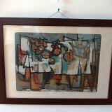"MARCEL IANCU(1895-1984)""Table aux fruits"", litografie colorata, semnata, 84x61 cm - Pictor roman, Natura statica, Cerneala, Avangardism"