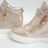 Ghete Sneakers auriu.Model DAMA 2016 - Ghete dama, Marime: 36, 37, 38, 39, 40, Culoare: Din imagine, Textil