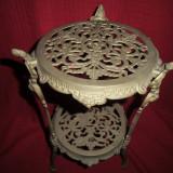 Etajera din bronz masiv cu 2 polite 46 cm - Metal/Fonta, Ornamentale