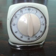Timer vechi mecanic de bucatarie metalic functional, ceas mecanic